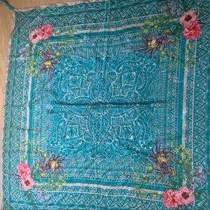 BohoJohnny Was Turquoise Floral Silk Tassel Scarf